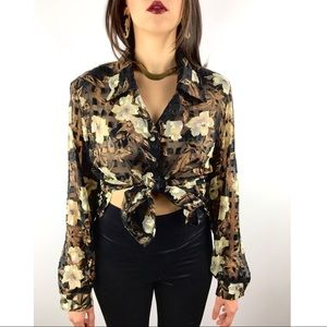 1980s semi sheer floral and gold button down
